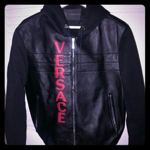 Black Versace Leather Bomber Men's Small 46
